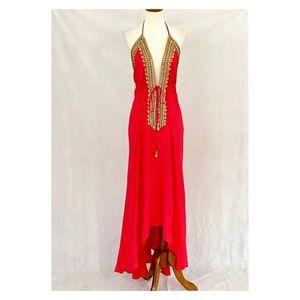 Bohemian Inspired Beaded Red Halter Dress